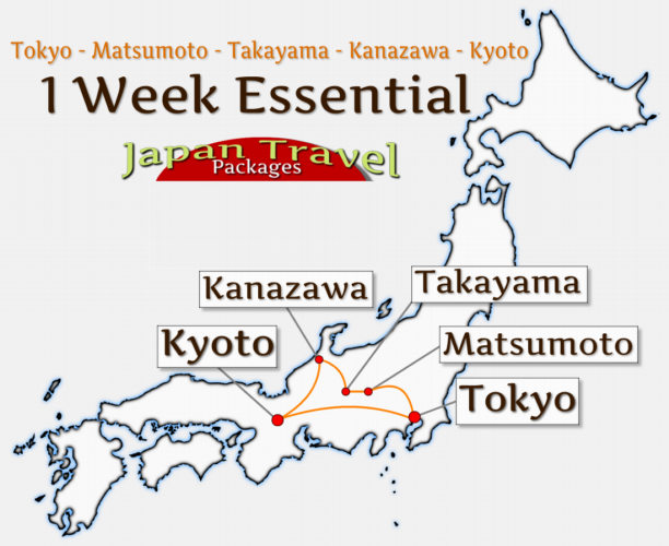 Japan Travel Packages Tour Map - 1 Week Essential Tour (JapanTravelPackages.com)