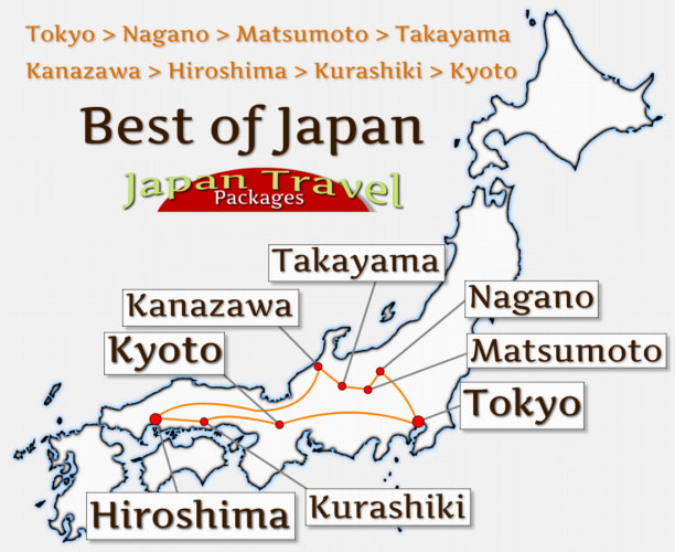 Japan Travel Packages Tour Map - Best of Japan Tour (JapanTravelPackages.com)