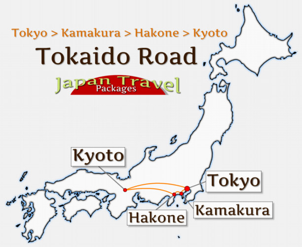 Japan Travel Packages Tour Map - Tokaido Road Tour (JapanTravelPackages.com)